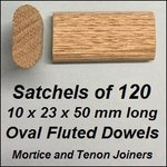 1 Satchel of 120, 10x23 50mm Oval Fluted Dowels