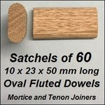 1 Satchel of 60, 10x23 50mm Oval Fluted Dowels