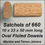 1 Satchel of 660, 10x23 50mm Oval Fluted Dowels